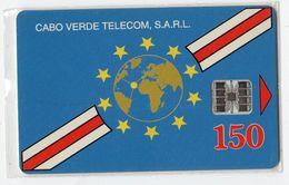 CAP VERT REF MV CARDS CPV-11a 150U GLOBE & FLAG Année 1995 Verso Inversé - Kaapverdische Eilanden