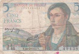 Billet De 5 Francs BERGER - 22.7.1943 - H.45 - 1871-1952 Circulated During XXth