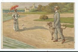 Lithograph Postcard Dog Walking On Beach Posted 1907 Bg.co  Stamp Torn - Chiens
