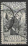 ITALIE   -  1926   .  Y&T N° 187 Oblitéré.  Saint   François D' Assise. - Usati