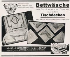 Original-Werbung/ Anzeige 1929 - BETTWÄSCHE / TISCHDECKEN / SPINN- & WEBSTOFF AG - ZÜRICH / EILENBURG - Ca. 200 X 160 Mm - Werbung