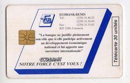 BENIN Ref MV Cards BEN-25 30U ECOBANK Date 1996 10 000ex - Bénin