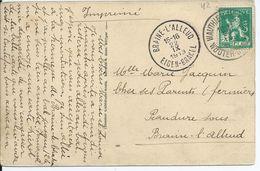 Fantasiekaart Met OCB 110 - Afstempeling WAUTHIER-BRAINE - COBA 12 - 1912 Pellens
