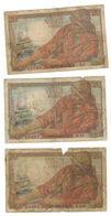 France, 20 Fr, 1940s (x3) ,  Used, See Scan - 1871-1952 Anciens Francs Circulés Au XXème