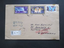 Libanon 1966 Einschreiben Air Mail / Luftpost Roter Stempel L2 Nicht Gestellungspflichtig! Motivemarken Schmetterling - Líbano
