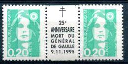 Thème Général De Gaulle - France Yvert 2618 Avec Intervalle 25e Anniversaire Mort Du Général De Gaulle Neuf Xxx - T 933 - De Gaulle (General)