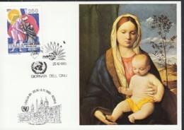 UNO NEW YORK, UNICEF-Kunstkarte, Aussellungskarte Mit Erinnerungsstempel: Rom ITALIA '85 25.10.1985 - New-York - Siège De L'ONU