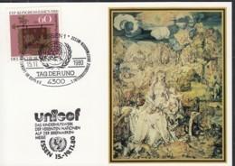 UNO NEW YORK, UNICEF-Kunstkarte, Aussellungskarte Mit Erinnerungsstempel Essen Tag Der UNO 15.11.1980 - New-York - Siège De L'ONU