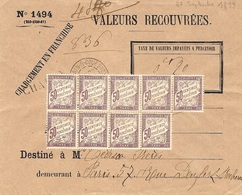 """1899 - Env. N°1494 Valeurs Recouvrées  """" Chargement En Franchise """" + CHARGE  + Planche De 9 X 80 C - Postage Due Covers"""