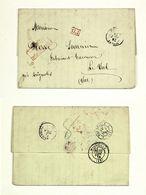 LAC Bureau Français Smyrne Pour Le Val (Var), Timbre Rouge PD, Affranchissement 80c  Payé En Numéraire Faute De Timbre - 1849-1876: Classic Period