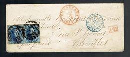 Paire Hor. De Médaillons 20c  De Barres P 101 Rochefort 22 MAR 1851 => Versailles PD 5 Belg 5 Valenciennes  ( A Voir ) - Postmark Collection