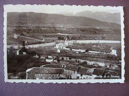 CPA PHOTO 04 VOLONNE écrite VOLLONNE Eglise Notre Dame Et Vallée De La Durance 1937 BELLE CARTE SEPIA - France