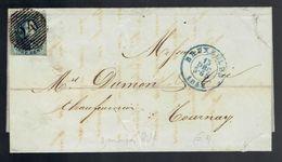 Médaillons 20c Bdf 3 Marges De Barres P 24  Bruxelles 15 DEC 1851 écrite De Molenbeek => Tournay - Belgique