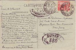 TUNISIE 10c Laboureur De Carnet (massicotage) Contrôle Postal 808 Tunis Maxula-Radès > USA 1918 CPA Chevaux - Tunisie (1888-1955)