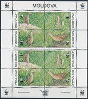 Mi 379-82 MNH ** Sheetlet / WWF, Birds, Corn Crake, Crex Crex - Moldavie