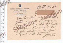 GARESSIO - AUTOGRAFO Prof. FASIANI Gian Maria  Chirurgia Regia Università Milano - Medico Medicina - Testo Più Busta - Autographs