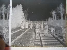 GUERRE 1914-18 - Plaque De Verre Stéréo Négative - Construction De Voie Ferrée - Format 6 X13 - Diapositiva Su Vetro
