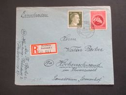 3.Reich 1944 Hitler MiF Mit Nr. 901 Einschreiben Hamburg Rahlstedt 2 In Den Schwarzwald Sanatorium Sonnenhof - Allemagne