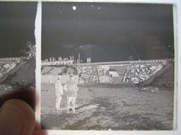 GUERRE 1914-18 - Plaque De Verre Stéréo Négative - Construction De Voie Ferrée Sur Un Pont - Format 6 X13 - Diapositiva Su Vetro