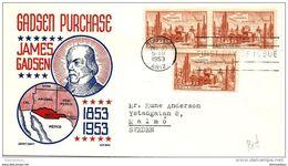 96 -77 - Enveloppe Envoyée De  Tucson  En Suède 1953 - Oblit 1er Jour - Storia Postale