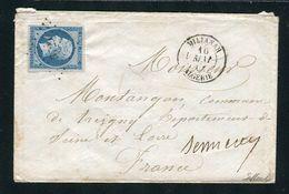 Rare Lettre De Milianah ( Algérie 1861 ) Pour Treigny Avec Un N° 14B - Cachet PC 3729 - 1849-1876: Klassik