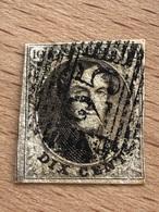 N° 6 P25 Charleroi 17H 4 Marges 1 Voisin Présence D'une Tache De Rousseur Coin Inf Droit Papier Moyen - 1851-1857 Medallones (6/8)
