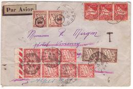 Lettre Avion Algérie > Paris TAXE 2F Annulé 1 (cercle) - Réexpédiée Cannes Taxée 2F + 30c = Insuffisant + Poste Restante - 1859-1955 Storia Postale