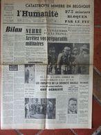 Journal L'Humanité (9 Août 1956) Catastrophe Minière Charleroi - Nehru - Joliot Curie - 1950 - Oggi