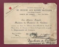 050620 - 06 Comité De CANNES Secours Blessés Militaires CROIX ROUGE SAR Duchesse De Vendôme Princesse De Belgique Signé - Cannes