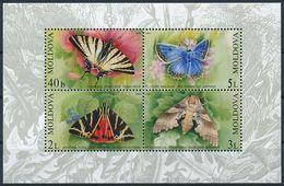 Mi Block 28 MNH ** / Lepidoptera, Butterfly, Moth / Swallowtail, Jersey Tiger, Oak Hawk-moth, Meleager's Blue - Moldavie