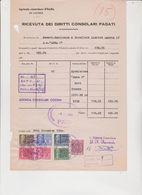 DOCUMENTO CON 7  MARCHE DA BOLLO CONSOLARI ITALIANE - Fiscali