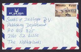 Mauritius: Airmail Cover To Netherlands, 1987, 1 Stamp, Bridge, Boat, Fishing (minor Damage) - Mauritius (1968-...)