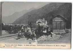 CPA Ferrovia Della Valle Maggia In Attesa Del Treno Antichissima Chiesuola Di S Maria à Maggia - TI Tessin