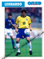 Fiche, Football (1997) : LEONARDO (Brésil, Rio De Janeiro, Flamengo, Sao Paulo, Valence, Kashima, PSG) Recto-Verso - Collections