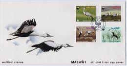 Malawi - 1987 WWF Wattled Crane FDC # SG 759-762 - Brieven En Documenten