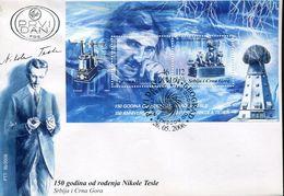 55156 Serbia, Fdc 2006 Nikola Tesla,electrical And Mechanical Engineer, Electricity, Futurist - Physics