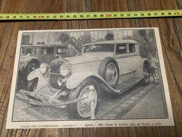 ANNEES 20/30 STAND DES AUTOMOBILES LINCOLN TATEM ET DANJOU QUAI DU WAULT LILLE - Collections