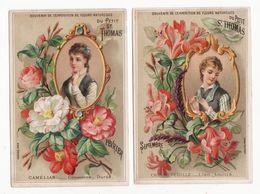 Chromo  AU PETIT SAINT THOMAS    Lot De 5    Femmes, Fleurs   Mois De L'année     14.2 X 9.5 Cm - Trade Cards