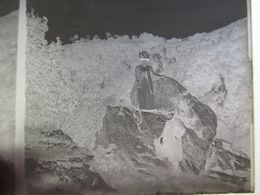 RANDONNEURS EN MONTAGNE - PLAQUE DE VERRE STEREO NEGATIVE  -  6 X 13  - Circa 1930BE - Diapositiva Su Vetro