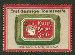 "Ulm 1913 Jugendstil "" Heinrich Mack Kaiser Borax "" Art Deco Vignette Cinderella Reklamemarke - Erinofilia"
