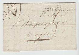 GERS:  31 / L'ISLE EN JOURDAIN Linéaire 44 X 8 M/m / LAC De 1808 Pour Agde, Ind 10 - Poststempel (Briefe)