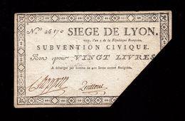 ASSIGNAT SIÈGE DE LYON BON POUR 20 LIVRES SUBVENTION CIVIQUE 1793 N° 26170 EMBOSSAGE AU DOS TRÈS MARQUÉ Serbon63 - Assignate