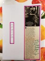 AUTOGRAPHE DE CERISE (Trės Rare), DÉDICACÉ & AUTHENTIQUE SUR COUP. DE PRESSE COLLÉE SUR GRD. CARTON. BRISTOL (V. Desc.) - Autographs