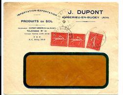 LETTRE AMBÉRIEU EN BUGEY (AIN) DUPONT Produits Du Sol - Affranchie à 1F50 (3 X SEMEUSE 50c Dont Paire) - Covers & Documents