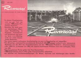Catalogue RIVAROSSI 1961/62 TRIX HO 1/87 Brochure FIAT 500 & 600 Prix DM - Duits