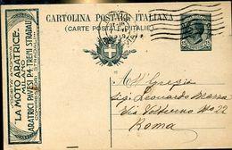 """55163 Italia, Stationery Cart.postale 1919 Viaggiata Advertising/pubblicità """"la Moto Aratrice Milano, Treni Stradali - 1900-44 Vittorio Emanuele III"""
