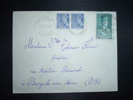LETTRE TP PETAIN 80c + MERCURE 10c Paire OBL. HOROPLAN 3-3 41 VERNET-LES-BAINS PYRENEES-ORLES (66) - Postmark Collection (Covers)