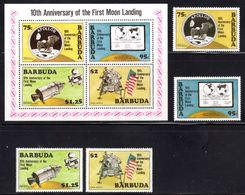 BARBUDA - 1980 SPACE APOLLO MOON LANDING ANNIVERSARY SET (4V) & MS FINE MNH ** SG 498-501, MS502 - Barbuda (...-1981)