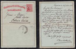 Uruguay 1913 Lettercard Stationery TARARIRAS To COLONIA SUIZA Nueva Helvecia - Uruguay