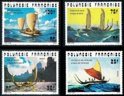 POLYNESIE 1976 - Yv. 111 112 113 Et 114 **   Cote= 23,80 EUR - Bateaux : Pirogues Anciennes (4 Val.)  ..Réf.POL25090 - Polynésie Française